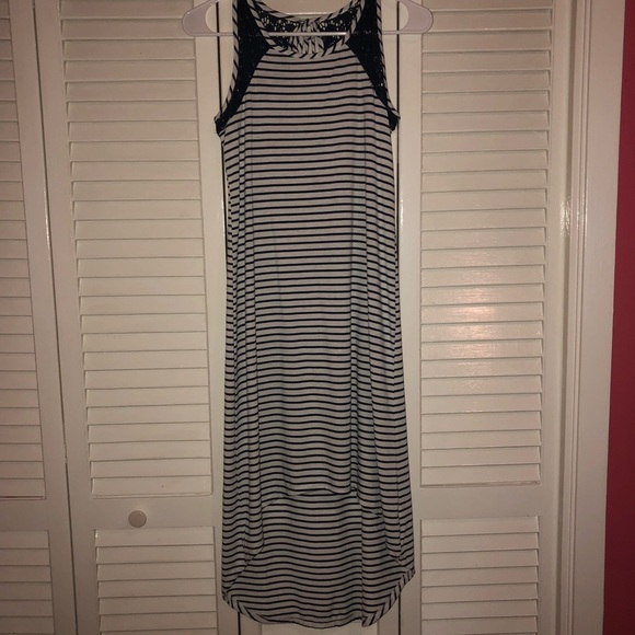 Rue21 Dresses & Skirts - high low navy blue and white strip dress!!